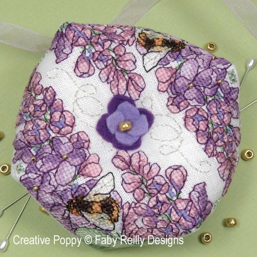 Lilac Biscornu cross stitch pattern by Faby Reilly Designs
