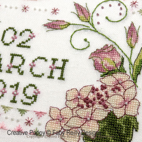 Lizzie Wedding Sampler cross stitch pattern by Faby Reilly Designs, zoom 1
