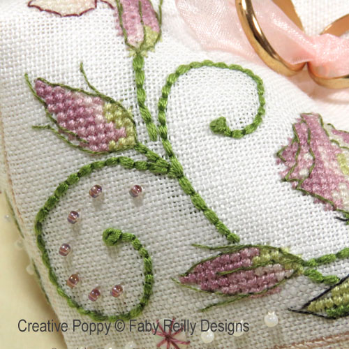 Lizzy Biscornu (Wedding Ring Cushion) cross stitch pattern by Faby Reilly Designs, zoom 1
