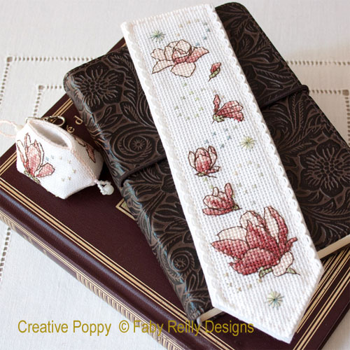 Magnolia Bookmark cross stitch pattern by Faby Reilly Designs
