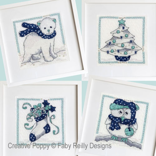 Navy & Mint Frames (set of 4 designs) cross stitch pattern by Faby Reilly designs