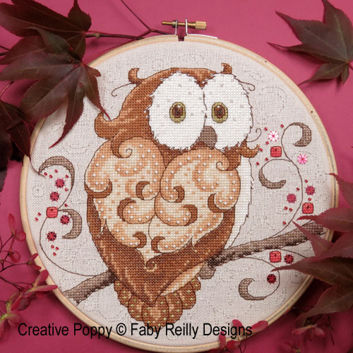 Sparkly Owl Hoop cross stitch pattern by Faby Reilly Designs