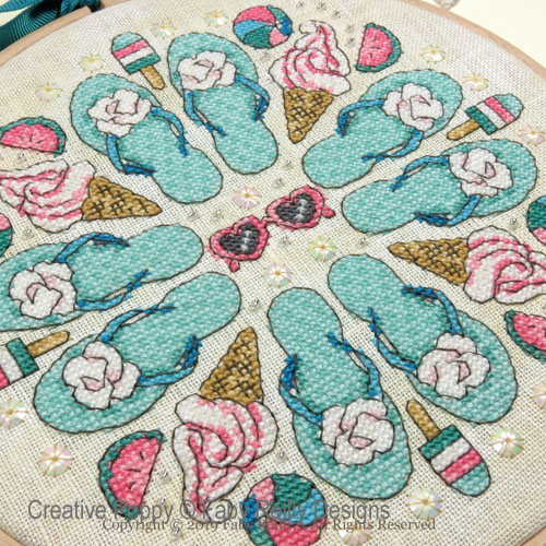 Summer Dreams Mandala cross stitch pattern by Faby Reilly Deisgns