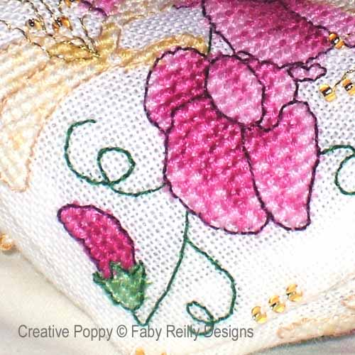 Sweet Pea Biscornu cross stitch pattern by Faby Reilly Designs, zoom 1