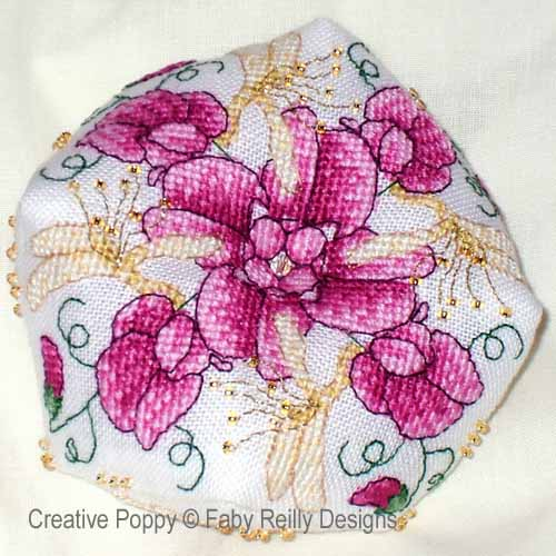 Sweet Pea Biscornu cross stitch pattern by Faby Reilly Designs