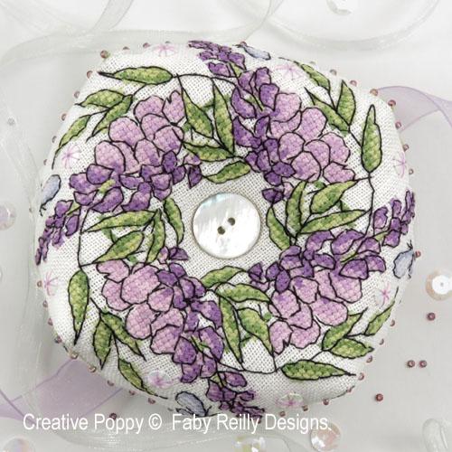 Faby Reilly Designs - Wisteria Biscornu (cross stitch chart)