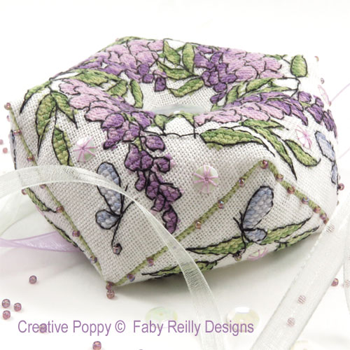 Wisteria Biscornu cross stitch pattern by Faby Reilly Designs, zoom 1