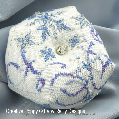 Frosty Snowflake Biscornu cross stitch pattern by Faby Reilly Designs