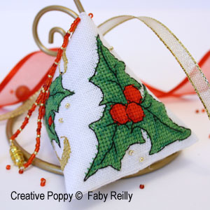 Holly Humbug ornament cross stitch pattern by Faby Reilly Designs
