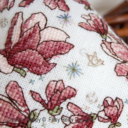 Magnolia Heart cross stitch pattern by Faby Reilly Designs, zoom 1