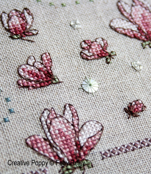 Magnolia Sampler cross stitch pattern by Faby Reilly Designs, zoom2