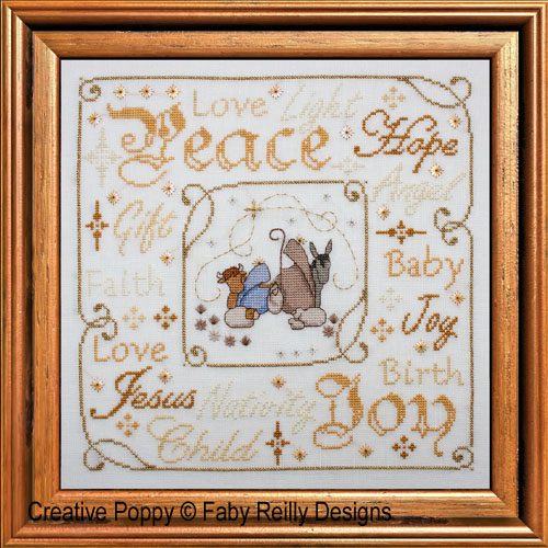 Christmas nativity frame cross stitch pattern by Faby Reilly Designs