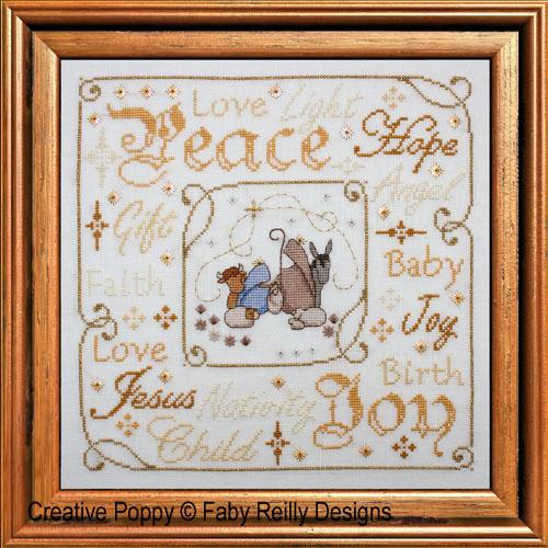 Christmas nativity frame cross stitch pattern by Faby Reilly Designs