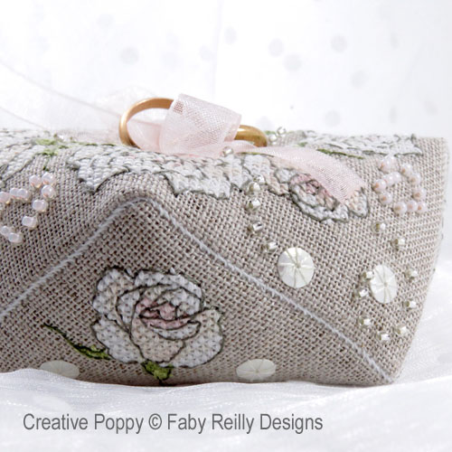 Once Upon a Rose - Wedding ring cushion cross stitch pattern by Faby Reilly Designs, zoom 1