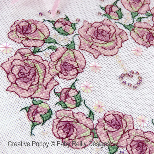 Once upon a Rose - Heart Wreath cross stitch pattern by Faby Reilly Designs, zoom 1