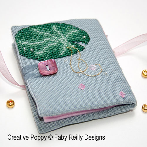 Pink Lotus needlebook cross stitch pattern by Faby Reilly Designs, zoom 1