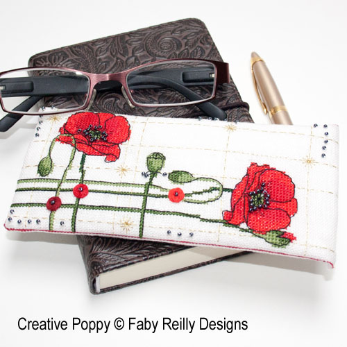 Poppy Glasses Case cross stitch pattern by Faby Reilly Designs