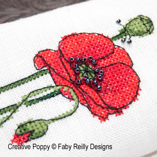 Poppy Glasses Case cross stitch pattern by Faby Reilly Designs, zoom 1