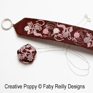 Stitched Jewelery Bracelet and Pendant - Rose Chocolat cross stitch pattern by Faby Reilly Designs