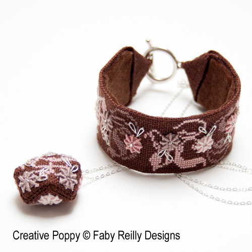 Stitched Jewelry Bracelet and Pendant - Rose Chocolat cross stitch pattern by Faby Reilly Designs