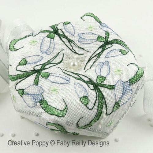 Snowdrop biscornu cross stitch pattern by Faby Reilly Designs