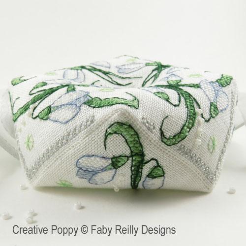 Snowdrop biscornu cross stitch pattern by Faby Reilly Designs, zoom 1