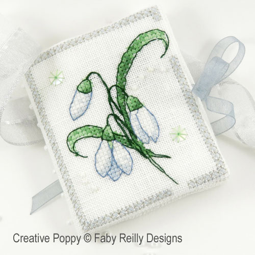 Snowdrop needlebook cross stitch pattern by Faby Reilly Designs