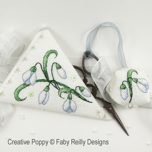 Snowdrop Scissor case cross stitch pattern by Faby Reilly Designs