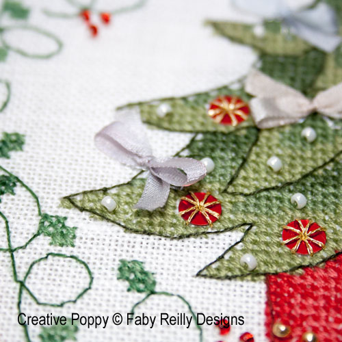 Tree and snowflake hoops cross stitch pattern by Faby Reilly Designs, zoom 1