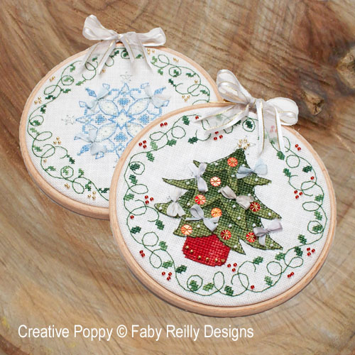 Tree and snowflake hoops cross stitch pattern by Faby Reilly Designs