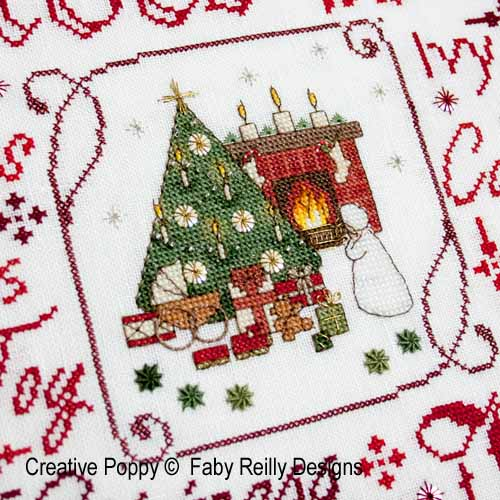 Victorian Christmas Frame cross stitch pattern by Faby Reilly Designs, zoom 1