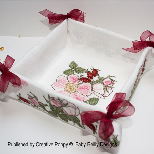 Wildrose Desk/Room tidy cross stitch pattern by Faby Reilly Design