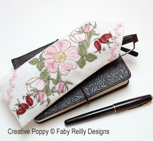 Wild Rose Glasses case cross stitch pattern by Faby Reilly Designs
