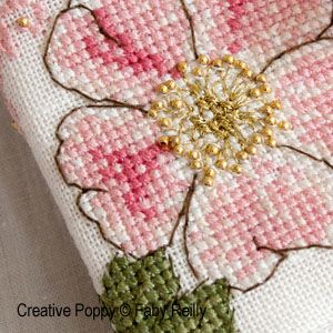 Faby Reilly - Wild Rose Needlebook (cross stitch pattern chart) (zoom1)