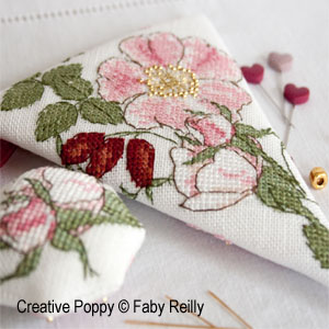 Faby Reilly - Wild Rose Scissor Case and Fob (cross stitch pattern chart)