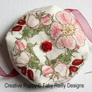 Wild Rose Biscornu cross stitch pattern by Faby Reilly Designs