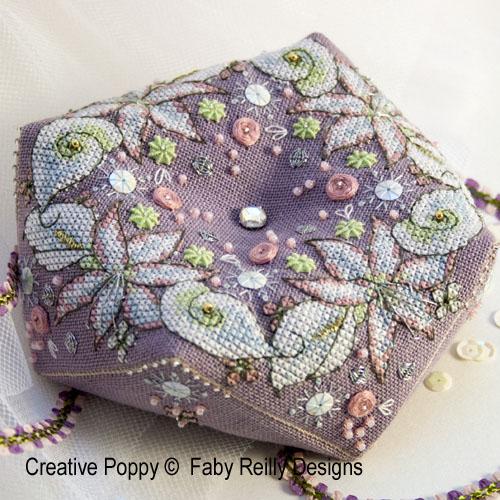 Wintry Blooms biscornu cross stitch pattern by Faby Reilly
