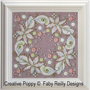 Wintry Blooms biscornu cross stitch pattern by Faby Reilly, zoom1