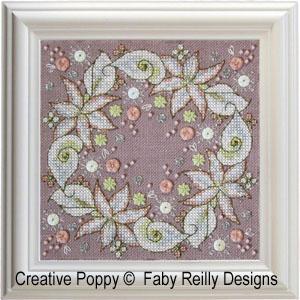 Wintry Blooms biscornu cross stitch pattern by Faby Reilly, zoom1