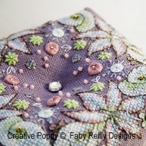 Wintry Blooms biscornu cross stitch pattern by Faby Reilly, zoom3