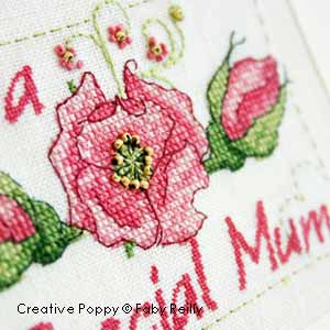Mother's Day card to cross stitch - Pink rose