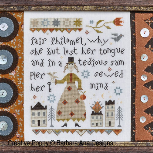Fair Philomel cross stitch pattern by Barbara Ana Designs