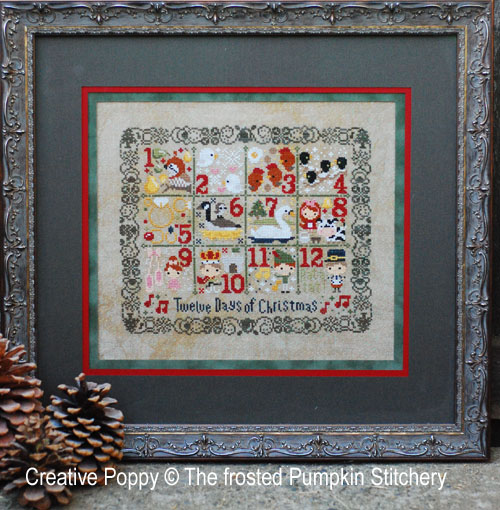 The 12 days of Christmas cross stitch pattern by The Frosted Pumpkin Stitchery