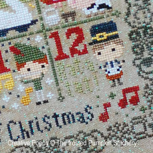 The 12 Days of Christmas cross stitch pattern The Frosted Pumpkin Stitchery