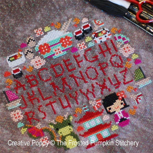 Cherry Blossom festival cross stitch pattern by The Frosted Pumpkin Stitchery