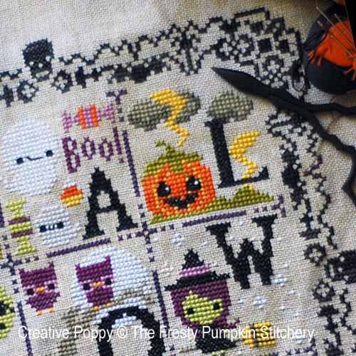 The Frosted Pumpkin Stitchery - Halloween Spooky Sampler zoom 3 (cross stitch chart)