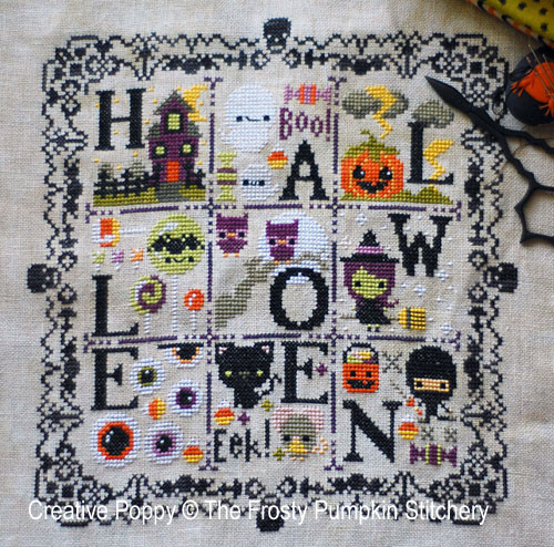 Spooky Halloween sampler cross stitch pattern by The Frosted Pumpkin Stitchery