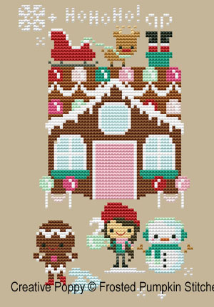 Gingerbread lane - Santa House cross stitch pattern by The Frosted Pumpkin