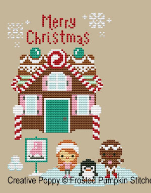 Gingerbread lane  - Skating rink cross stitch pattern by The Frosted Pumpkin