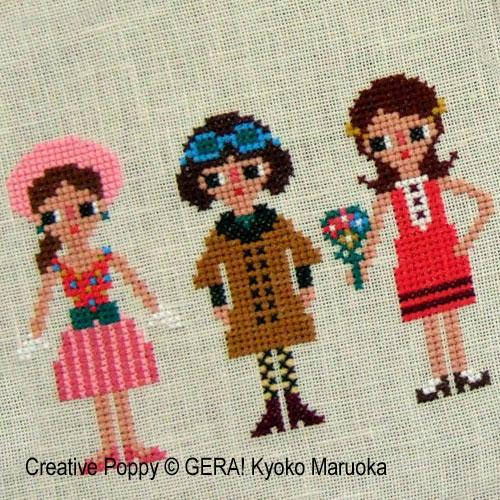 Gera! by Kyoko Maruoka - 60's Fashion Styles zoom 1 (cross stitch chart)
